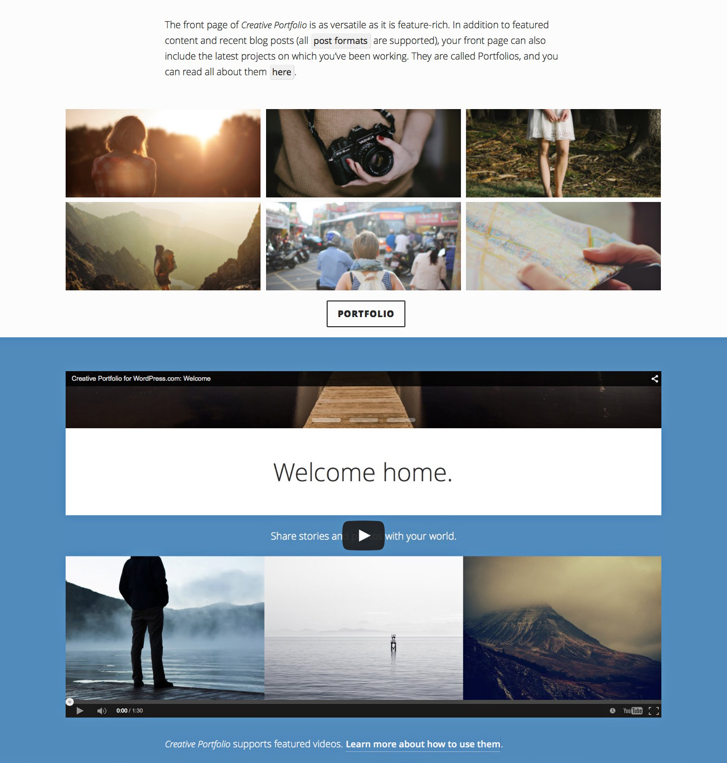 1) The content at the top of this image is the content of the page that you set as your front page template; 2) Portfolio projects; 3) This featured video area displays your latest video post format post.