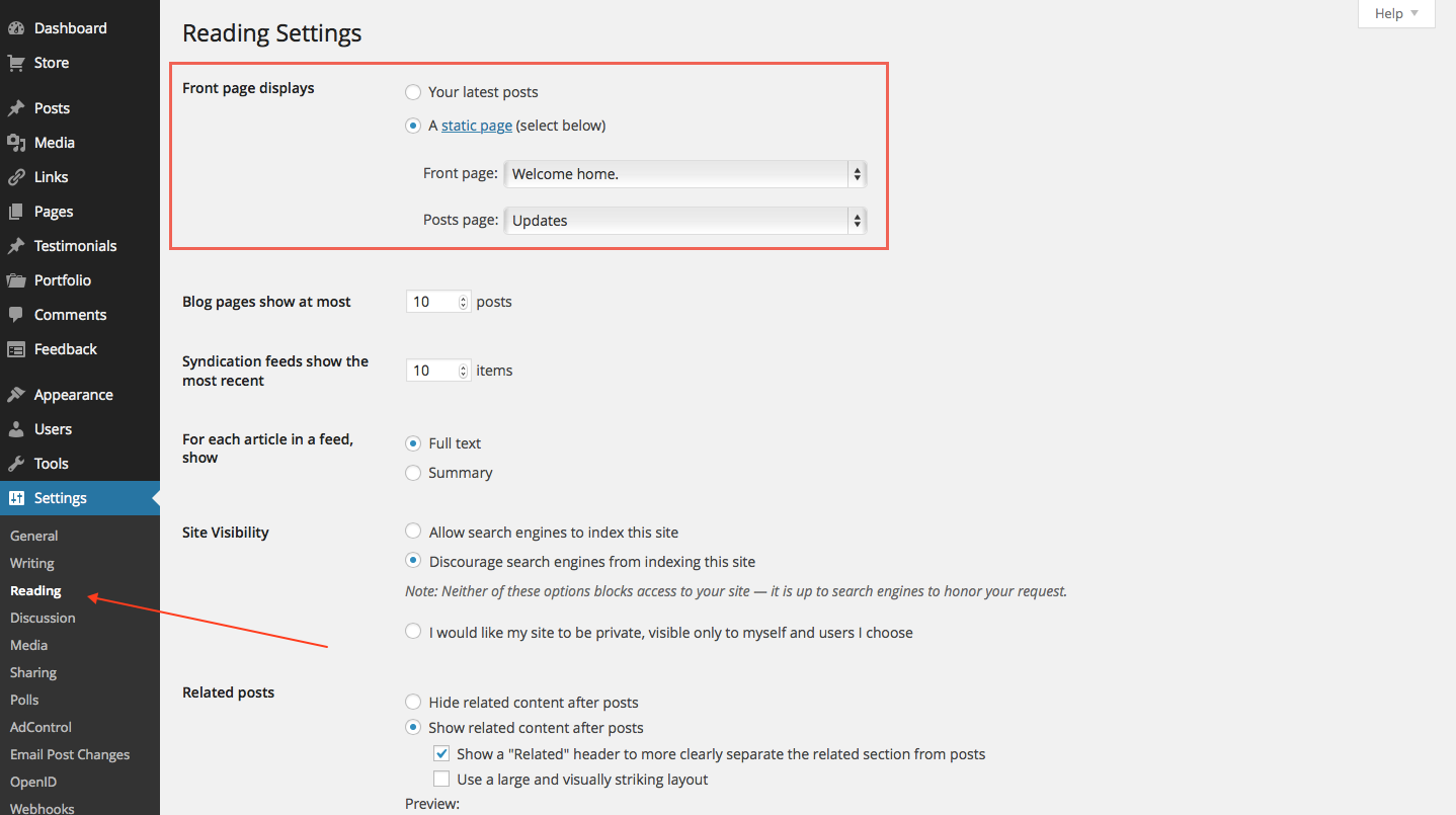 Configure your reading settings on the Dashboard → Settings → Reading page.